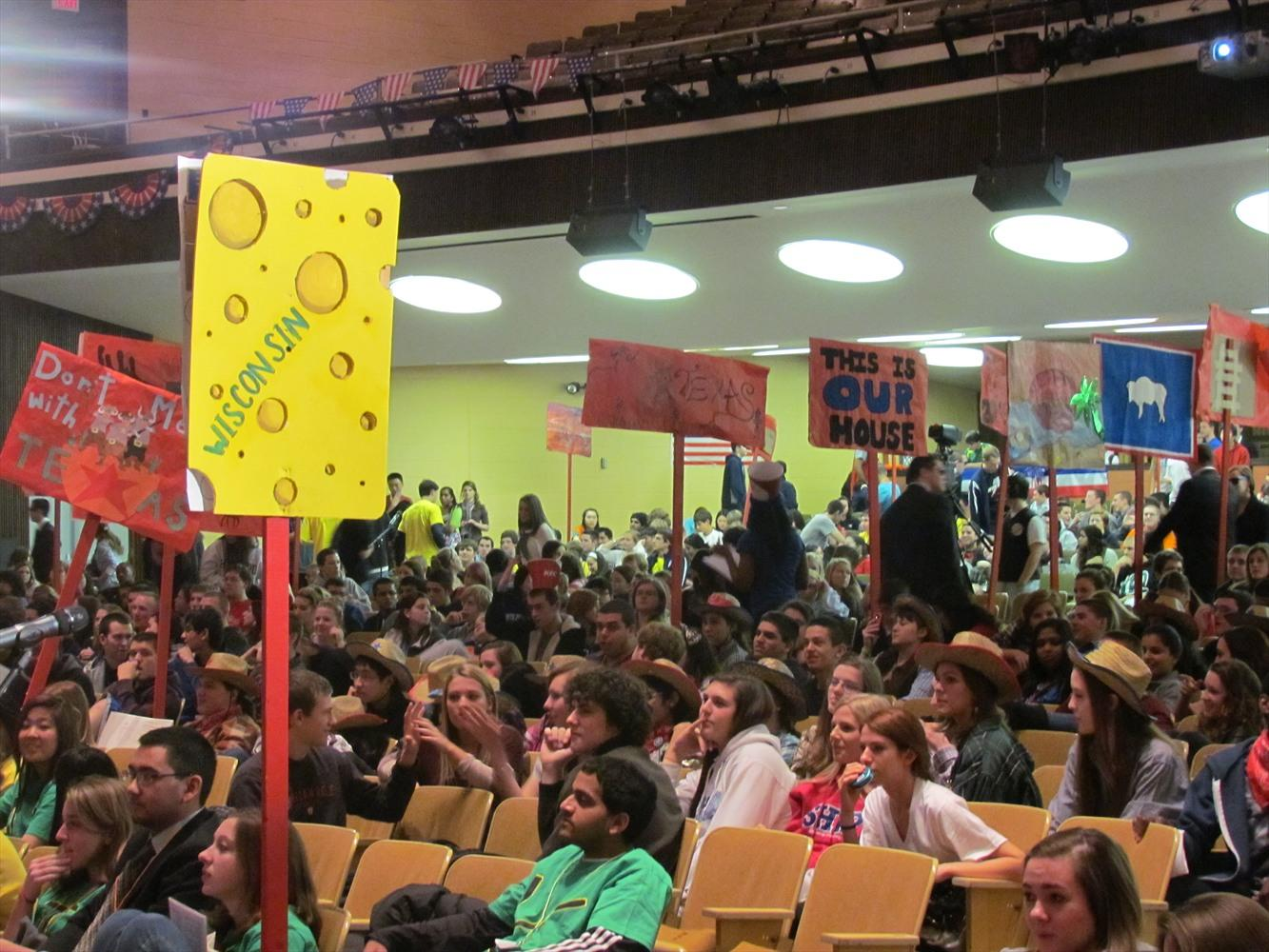 POLITICKING: This scene from the 2012 Simulated Republican Convention at NPHS will be revisited in January as NP holds its 2016 simulated convention.