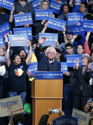 Democratic presidential candidate, Sen. Bernie Sanders, I-Vt, campaigns Tuesday, Jan. 26, 2016 at a rally in Duluth, Minn. (AP Photo/Jim Mone)