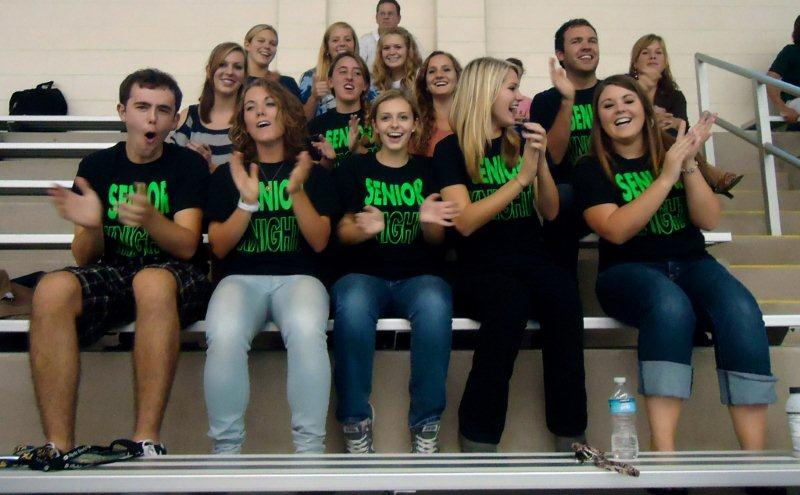 Water Polo fans sport T-shirts supporting the seniors at a recent game