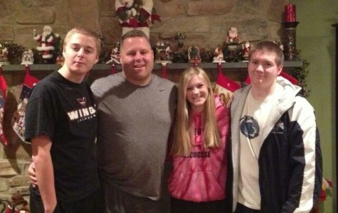 Security guard Dick Beck with children Colby Beck, Megan Lawn, and Connor Lawn