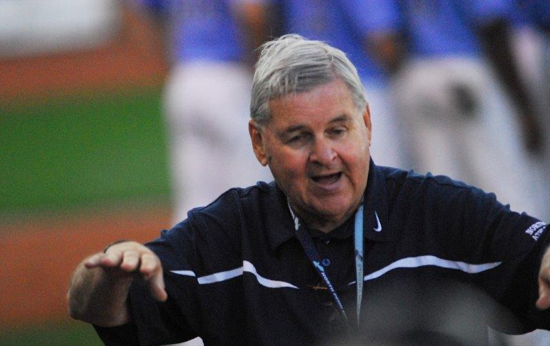 North Penn HS Athletic Director Don Ryan settles the crowd at the 2013 PIAA baseball state championship game in State College, PA.