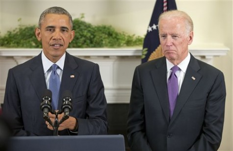 Vice President Joe Biden listens as President Barack Obama speaks about Afghanistan, Thursday, Oct. 15, 2015, in the Roosevelt Room of the White House in Washington. Obama announced that he will keep U.S. troops in Afghanistan when he leaves office in 2017, casting aside his promise to end the war on his watch and instead ensuring he hands the conflict off to his successor. (AP Photo/Pablo Martinez Monsivais)