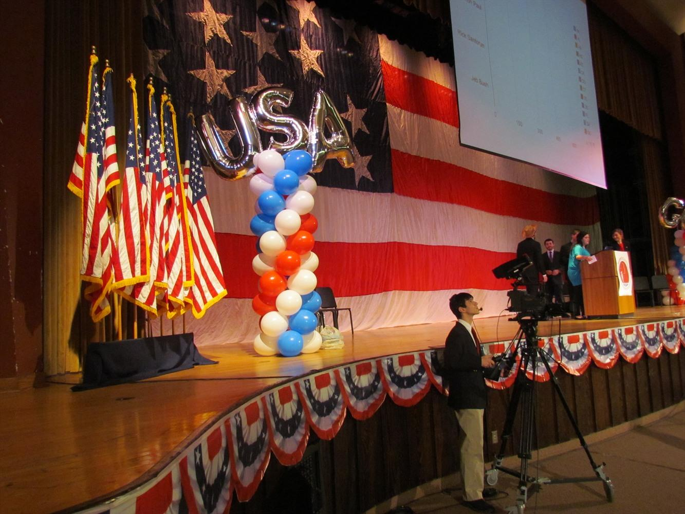 A scene from the stage of the 2012 Simulated Republican Convention at NPHS. The 2016 Simulated Convention coming up January 5th and 6th will offer students the opportunity to learn in the inner workings of American politics and Presidential nominations.