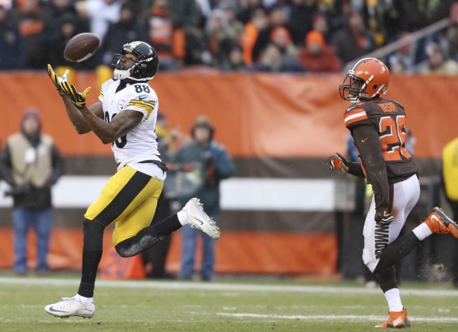 Pittsburgh Steelers wide receiver Darrius Heyward-Bey (88) catches a long pass for a first down as Cleveland Browns cornerback Pierre Desir (26) watches during the second half of an NFL football game, Sunday, Jan. 3, 2016, in Cleveland. (AP Photo/Ron Schwane)