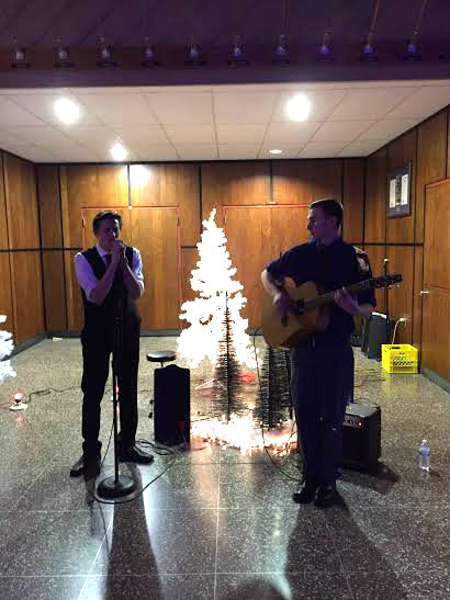 Mikey Oscar (L) and bandmate Steven Schenk perform at NPHS's Winter Ball on December 19th, 2015