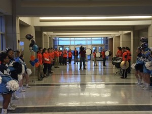 Cheerleaders, the NP Drum line, and dozens of students and staff greet FOX 29 on Friday morning at NPHS,
