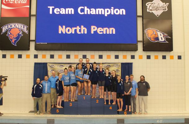 he North Penn girls swim team poses with its team championship trophy at the PIAA Class AAA Swimming and Diving Championships at Bucknell University on Thursday, March 17, 2016.