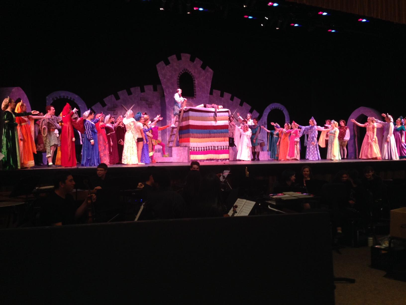 The company of Once Upon A Mattress gets in some last-minute fixes before  Thursday
