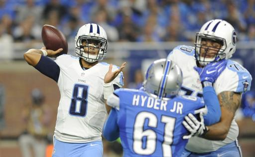 Tennessee Titans quarterback Marcus Mariota (8) throws during the first half of an NFL football game against the Detroit Lions, Sunday, Sept. 18, 2016, in Detroit. (AP Photo/Jose Juarez)