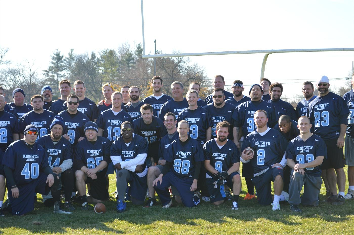 Are you ready for some football? Alumni NP football players gather for a team picture after the 2015 Thanksgiving Day Alumni football game. 2016 will mark the 2nd annual alumni game. Registration is now open.