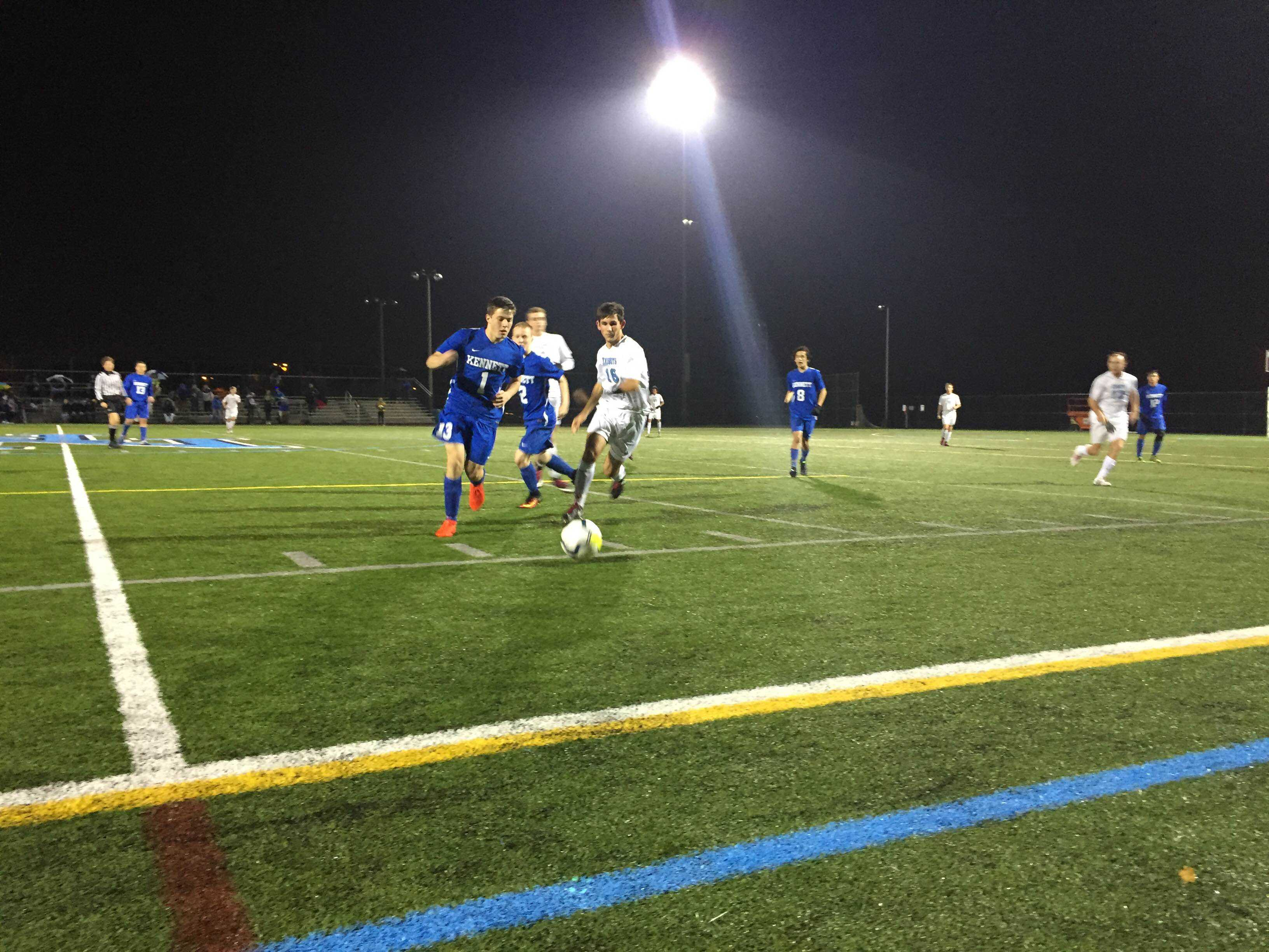 On Thursday evening, the North Penn Men's Soccer Team (No. 5, 16-3) shut out the Kennett Blue Demons (No. 21, 10-6-3) in the second round of playoffs, extending their season to the third round.