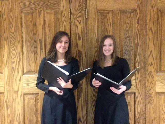 Junior Lia Franco, left, and senior Katja Pennypacker, right, pose for a photo at Susquehanna University for ACDA, a womens choir and chambers performance.