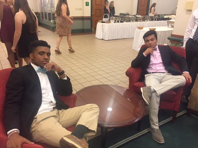 Jeremy Prince, left, and Maruf Hossain, right, pose for a photo at the three-day PASC state conference that NPHS's members of SGA attended.