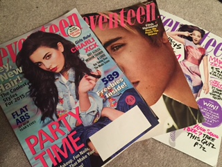 Seventeen Magazine, a widely read teen magazine, reflects societal standards of beauty.