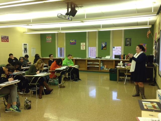 Mrs. Michelle McLarnon, math teacher at NPHS, teaches to her first period class.