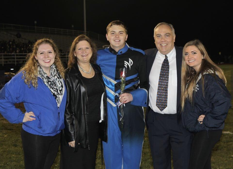 Left to right: Sierra Schempp, Joy Schempp, Sheridan, Fred Schempp, Kylie Schempp. Sheridan Schemp is pictured with his family at Community Knight senior recognition.