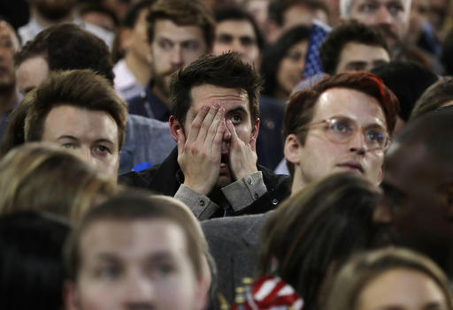 Supporters react to election results during Democratic presidential nominee Hillary Clintons election night rally in the Jacob Javits Center glass enclosed lobby in New York, Tuesday, Nov. 8, 2016. (AP Photo/Frank Franklin II)