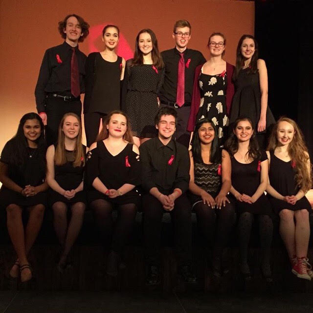 Officers and Cabinet members of the Thespian Troupe pose after their performance