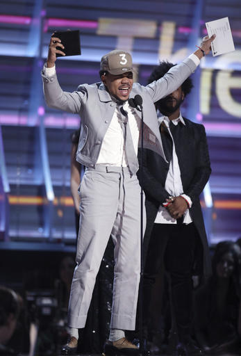 Chance The Rapper accepts the award for best rap album for