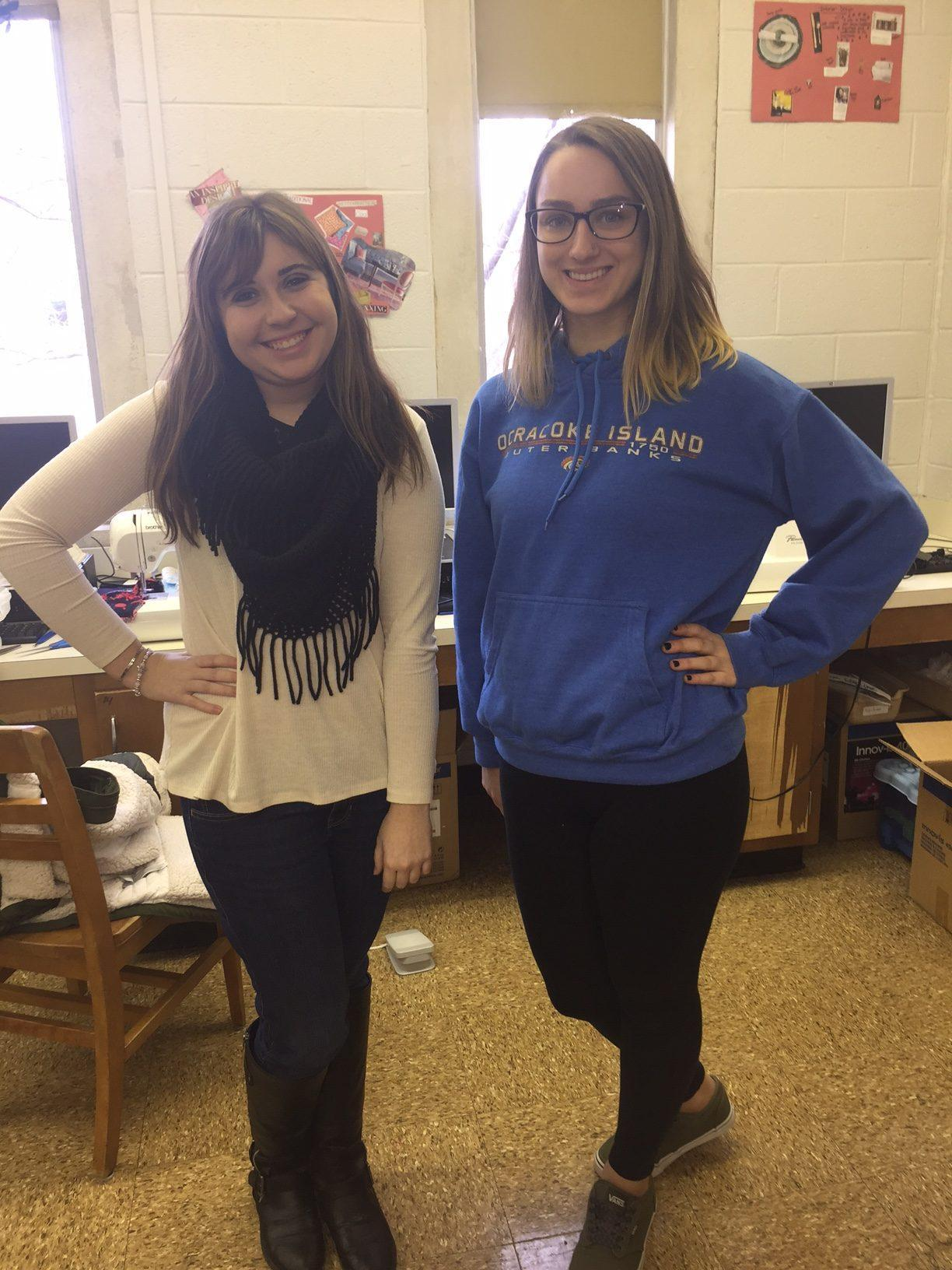 Career Study students Lily Yoder and Bri Phelps pose for the camera