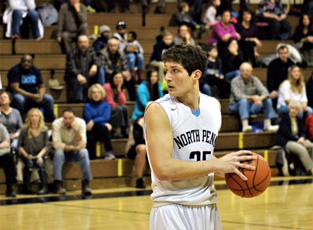 Senior+David+Giuliani+is+pictured+at+a+NPHS+basketball+game.+Giuliani+is+set+to+attend+Merrimack+College+on+a+full+scholarship+to+further+his+basketball+career.