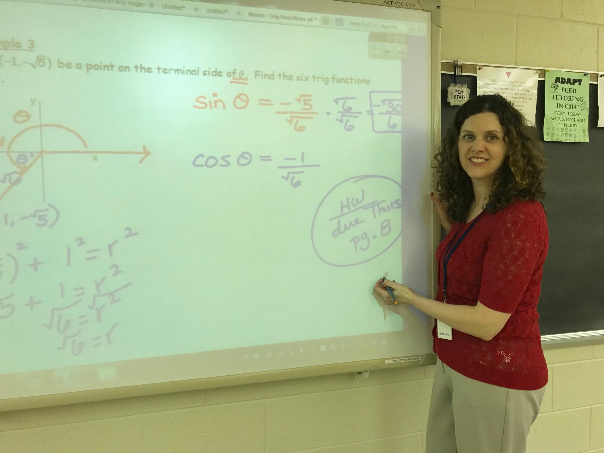 Mrs. Jenna Schweizer teaching a math lesson.