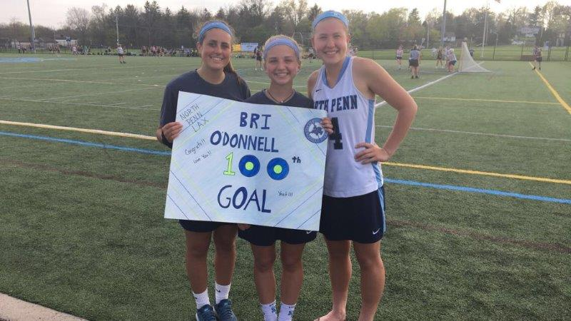 North+Penn%27s+Bri+O%27Donnell+netted+her+100th+career+goal+on+Thursday+as+the+Knights+defeated+Upper+Moreland+18-1.