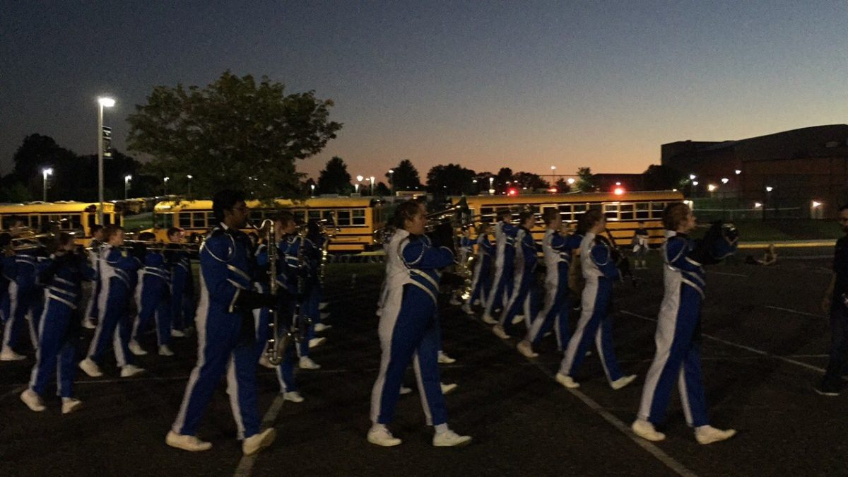 Marching Knights arrive at competition at Spring-Ford High School on September 23rd.