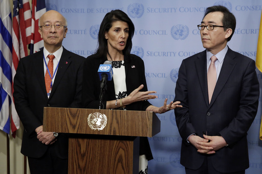 Japans Ambassador Koro Bessho, left, U.S. Ambassador Nikki Haley, center, and South Koreas Ambassador Cho Tae-yul hold a joint news conference after consultations of the United Nations Security Council, Wednesday, March 8, 2017. (AP Photo/Richard Drew)