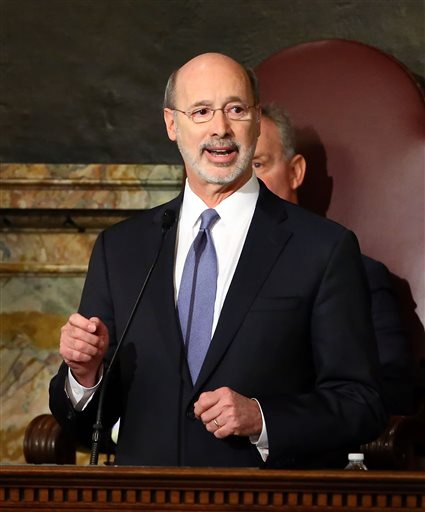 Gov. Tom Wolf, delivers his budget address for the 2016-17 fiscal year to a joint session of the Pennsylvania House and Senate at the State Capitol in Harrisburg Pa., Tuesday, Feb. 9, 2016. (AP Photo/Chris Knight)