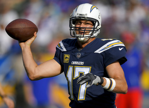 Los Angeles Chargers quarterback Philip Rivers passes against the Buffalo Bills during the first half of an NFL football game Sunday, Nov. 19, 2017, in Carson, Calif. (AP Photo/Mark J. Terrill)
