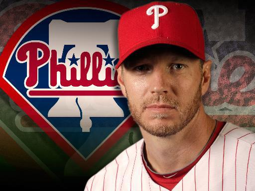 Roy Halladay headshot, as Philadelphia Phillies pitcher, partial graphic