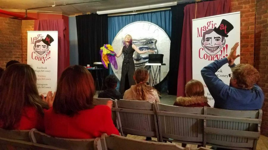 Senior Anastasia Dziekan performing at Magic at Coney, a magical show that highlights an array of magicians in Coney Island.