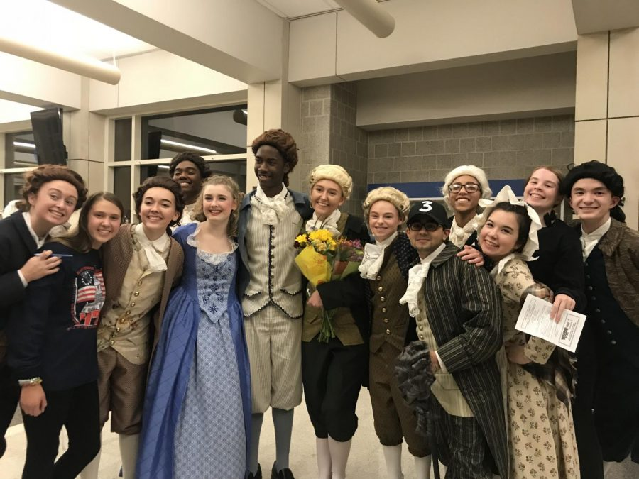 Cast and crew members of North Penns 1776 pose for a picture after their Friday night performance.