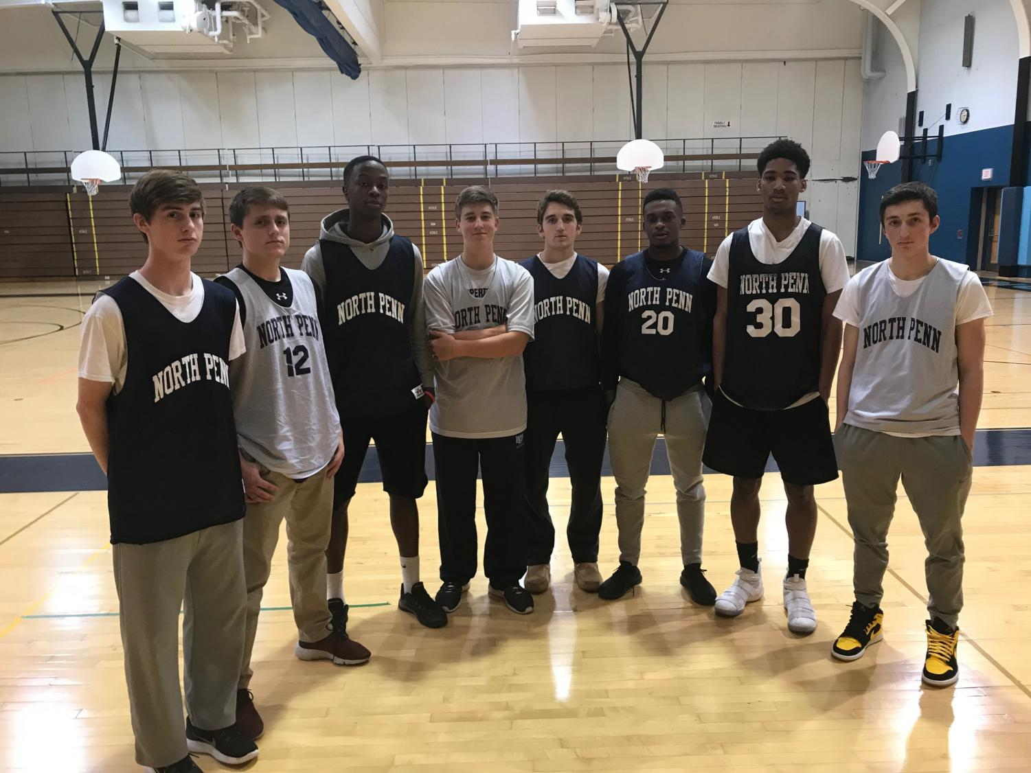 WINTER SPORTS PREVIEW - The North Penn Boys Basketball team gathers for a picture while at practice on December 1st, 2017. With key loses from last year, the team is looking for new players to step up.