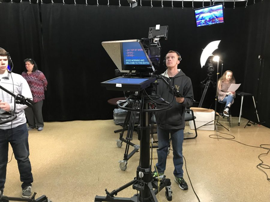 MORNINGS- The North Penn Television Crew gets in their positions for Mornings on Friday, December 15th.