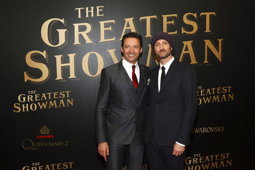 IMAGE DISTRIBUTED FOR CUNARD - Hugh Jackman, left, and Michael Gracey attend as Cunard Hosts the World Premiere of 20th Century Fox's