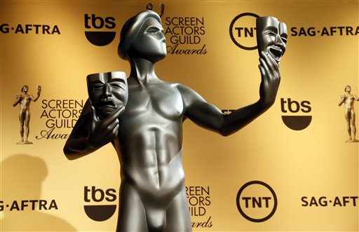 FILE-- This Dec. 10, 2014 file photo shows an actor statue during nominations for the 21st Annual Screen Actors Guild Awards, in West Hollywood, Calif. The SAG awards will be presented Sunday, January 25, 2015, in Los Angeles. (Photo by Danny Moloshok/Invision/AP, File)
