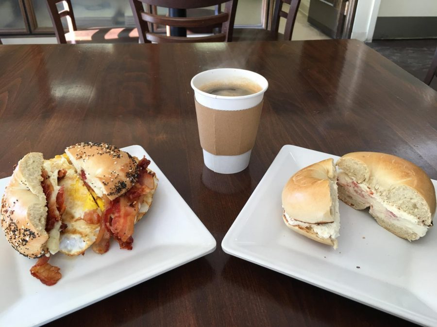CUISINE- Pictured here are two of the bagels Doug Bell ordered while reviewing the Everything Bagel Cafe.
