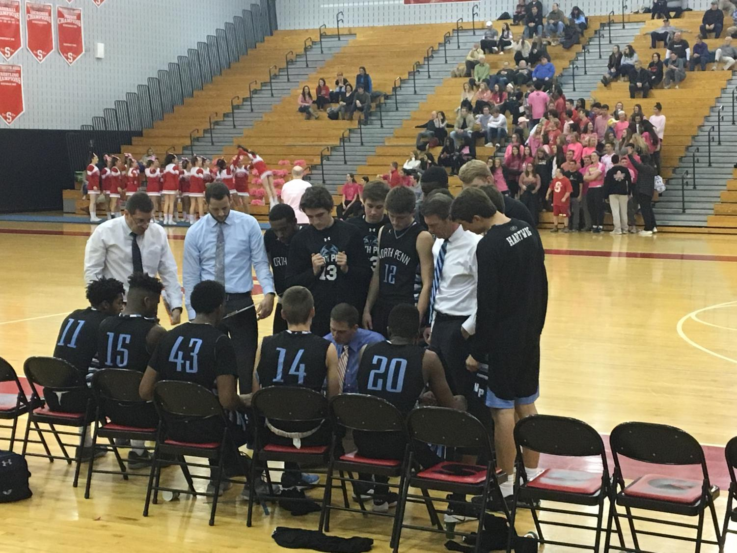 BASKETBALL- The North Penn Knights held onto an early lead against Souderton to clinch a win.