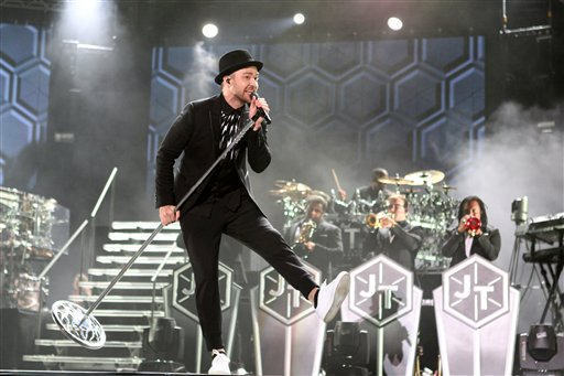 Justin Timberlake performs during a concert at Morocco's annual Mawazine Music Festival, in Rabat, Morocco, Friday, May 30, 2014. (AP Photo /Abdeljalil Bounhar)
