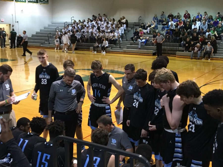 BASKETBALL- The North Penn Knights took a tough playoff loss in a close game with the Pennridge Rams.