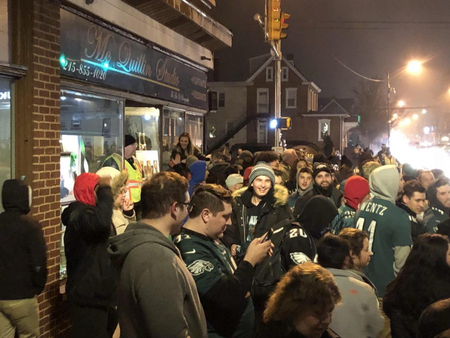 Super+Celebration%21+Lansdale+residents+pour+into+the+sidewalks+at+Main+and+Broad+late+Sunday+night+to+celebrate+the+Eagles+first+Super+Bowl+title+in+history.