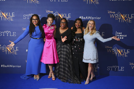 Director Ava DuVernay, from left, actresses Storm Reid, Oprah Winfrey, Mindy Kaling and Reese Witherspoon pose for photographers upon arrival at the premiere of the film 'A Wrinkle In Time' in London, Tuesday, March 13, 2018. (Photo by Joel C Ryan/Invision/AP)