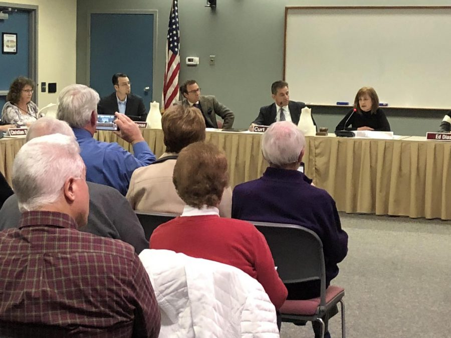North Penn School Board members convene at a mid-December board meeting to induct five newly elected board members (PRE-COVID).