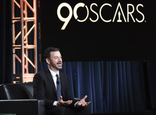 FILE - In this Jan. 8, 2018, file photo, Jimmy Kimmel participates in the