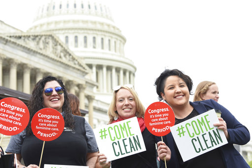 IMAGE DISTRIBUTED FOR SEVENTH GENERATION - Menstrual Products Right to Know Act supporters join a Womens Voices for the Earths womens health rally supported by Seventh Generation at the Capitol on Tuesday, May 23, 2017, in Washington. (Kevin Wolf/AP Images for Seventh Generation)
