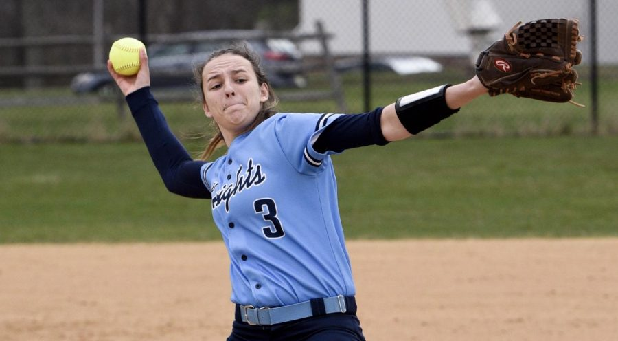 SOFTBALL+-++North+Penn+pitcher+Maddy+Volpe+sends+a+ball+to+home+plate+on+Tuesday%2C+April+17th.