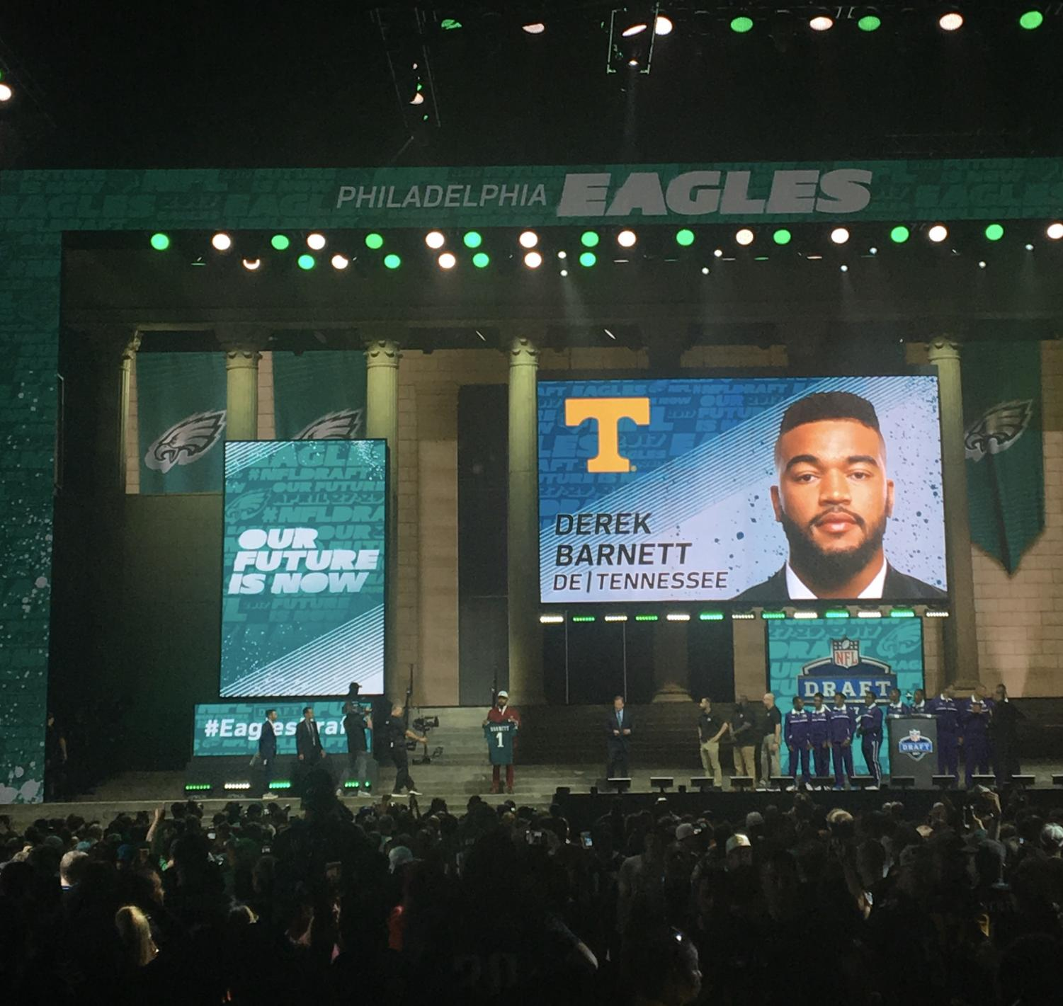 The Eagles took Tennessee's Derek Barnett with the 14th pick in the 2017 NFL Draft.