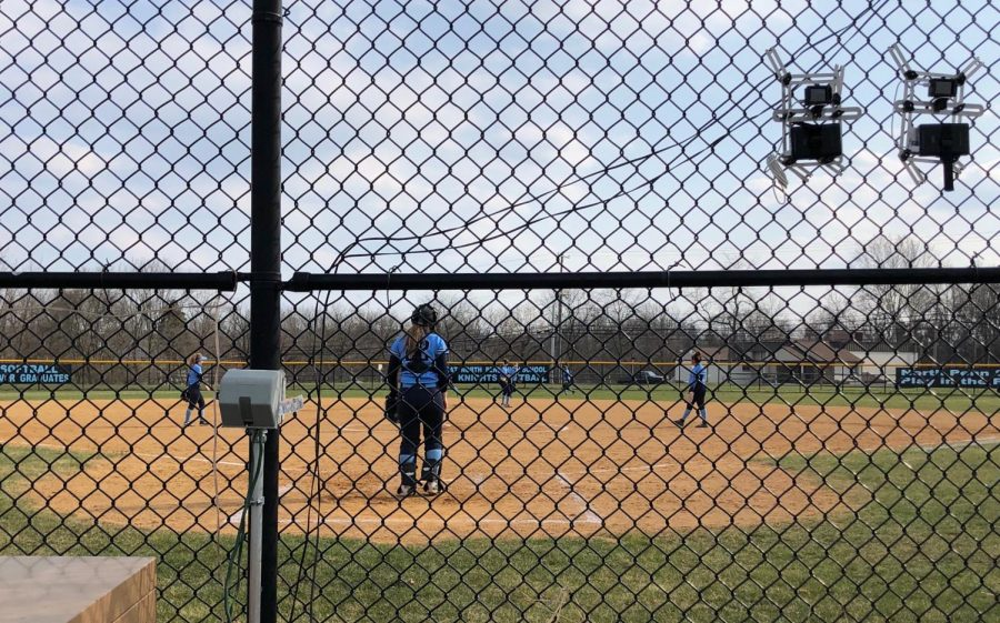 SOFTBALL-+On+a+beautiful%2C+windy+day+the+Knights+were+led+by+a+strong+pitching+performance+by+freshman+standout+Mady+Volpe+and+the+strong+bat+of+junior+Victoria+Juckniewitz.